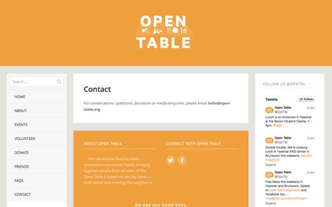 Screenshot of Contact Page open-table.org - Contact | Open Table - captured Oct. 9, 2014