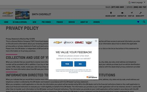 Screenshot of Privacy Page smithchevyusa.com - Privacy Policy of Smith Chevrolet - captured July 3, 2018