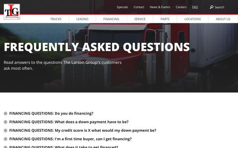 Screenshot of FAQ Page tlgtrucks.com - Frequently Asked Questions   TLG - captured Sept. 29, 2018