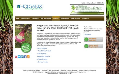Screenshot of Products Page holganix.com - Holganix is an organic, chemical-free lawn treatment that works - captured Oct. 28, 2014