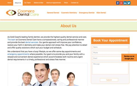 Screenshot of About Page coomeradentalcare.com.au - About Us | Coomera Dental Care - captured May 22, 2017
