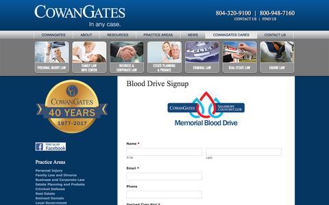 Screenshot of Signup Page cowangates.com - CowanGates & Salisbury Country Club Memorial Blood Drive   Sign Up - captured July 22, 2018
