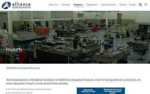 Screenshot of Products Page alliancespacesystems.com - Products – alliancespacesystems - captured May 30, 2019