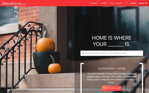Screenshot of Home Page realestate.com - Real Estate & Homes for Sale | RealEstate.com - captured Sept. 24, 2017