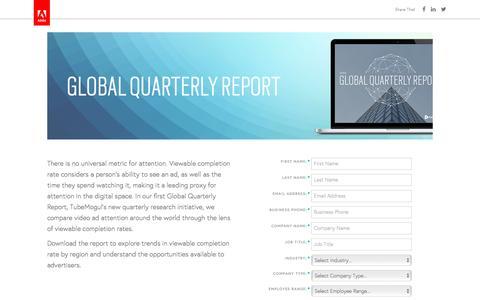 Screenshot of Landing Page tubemogul.com - TubeMogul Q3 2016 Global Quarterly Report - captured April 6, 2017