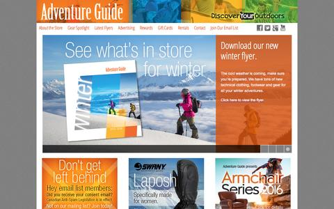 Screenshot of Home Page advguide.com - Adventure Guide Inc.Adventure Guide | Discover Your Outdoors - captured Jan. 18, 2016
