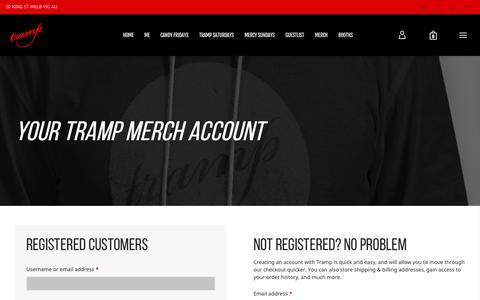 Screenshot of Signup Page Login Page trampbar.com - My Account - Tramp Merch - TRAMP - captured Nov. 7, 2018