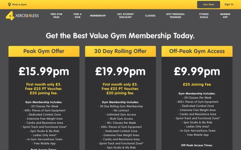 Screenshot of Signup Page xercise4less.co.uk - Best Value Gym Memberships, Exercise Classes & more at Xercise4Less - captured Dec. 12, 2018