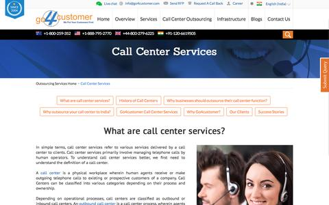 Screenshot of Services Page go4customer.com - Call Center Services | Domestic and International Call Center Services – Go4customer - captured Nov. 10, 2016