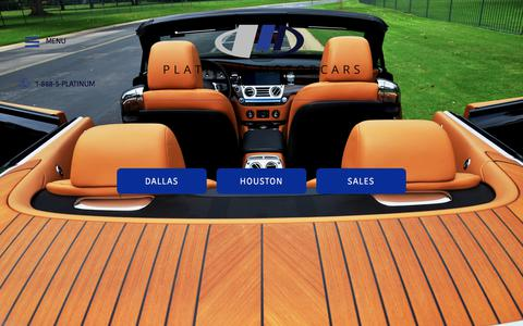 Screenshot of Home Page platinummotorcars.com - Platinum Motorcars   Auto Exotic car rental Dallas - captured July 19, 2018
