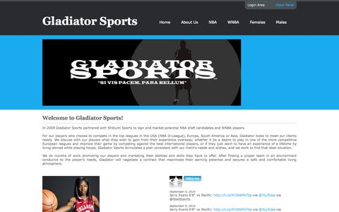 Screenshot of Home Page gladiatorsports.us - Gladiator Sports :: Home - captured Oct. 6, 2014