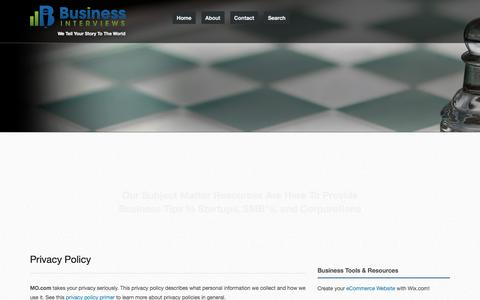 Screenshot of Privacy Page businessinterviews.com - Privacy Policy - Business Interviews - captured Nov. 25, 2015