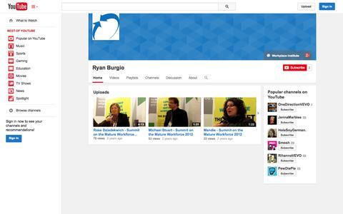 Screenshot of YouTube Page youtube.com - Ryan Burgio  - YouTube - captured Oct. 26, 2014