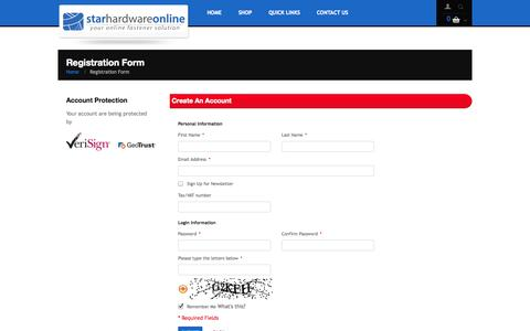 Screenshot of Signup Page starhardware.co.in - Star Hardware Online |  Create New Customer Account - captured Oct. 6, 2014