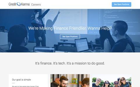 Screenshot of Jobs Page creditkarma.com - Work at Credit Karma   Credit Karma - captured Nov. 23, 2015