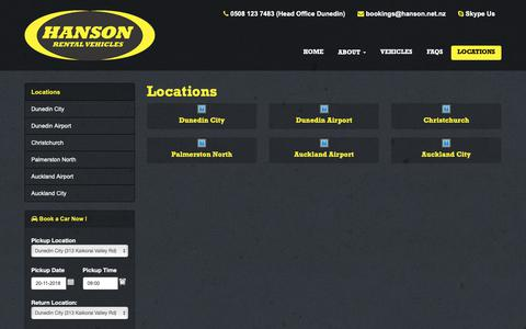Screenshot of Locations Page drivenrentals.co.nz - Locations | Hanson Rental Vehicles - captured Nov. 14, 2018