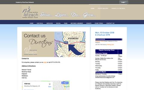 Screenshot of Contact Page netzach.org.uk - Contact us and Directions - Kehillas Netzach Yisroel - captured Oct. 15, 2018