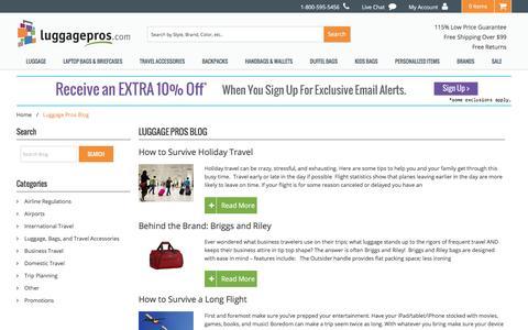 Screenshot of Blog luggagepros.com - Luggage Pros Blog | Luggage Pros - captured May 22, 2017