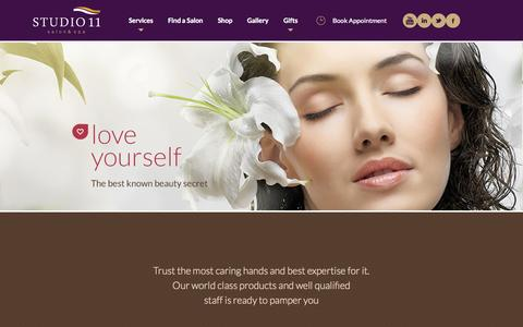 Screenshot of Home Page studio11.co - Studio11 Salon and Spa | Hair and Skin Care, Spa, Bridal Packages and more - captured Oct. 3, 2014