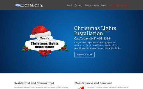 Screenshot of Home Page zoroschristmaslights.com - Home - Christmas Light Installation   Holiday Light Installation - captured Oct. 11, 2018