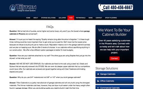Screenshot of FAQ Page tritoncabinets.com - Common Questions - captured Nov. 10, 2017