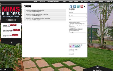 Screenshot of Jobs Page mimsbuilders.com - Premium MIMS Builders in bangalore India | Current job openings - captured Oct. 3, 2014