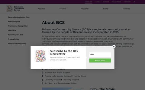 Screenshot of About Page bcsact.com.au - About BCS | Belconnen Community Service - captured Oct. 5, 2018