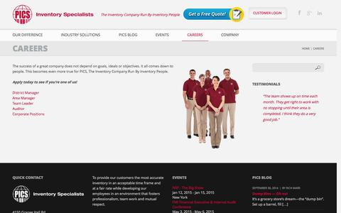 Screenshot of Jobs Page picsinv.com - Careers | PICS Inventory Specialists - captured Oct. 1, 2014