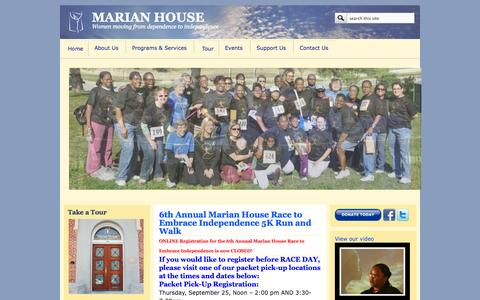 Screenshot of Home Page marianhouse.org - MARIAN HOUSE | Women moving from dependence to independence - captured Sept. 30, 2014