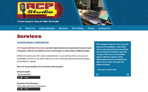 Screenshot of Services Page repstudio.com - REP Studio Ithaca NY - captured Aug. 15, 2015