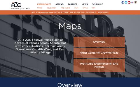Screenshot of Maps & Directions Page a3cfestival.com - Maps  |  A3C Hip Hop Festival - captured Oct. 29, 2014