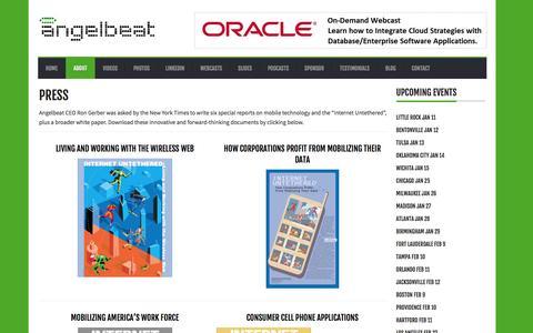 Screenshot of Press Page angelbeat.com - Angelbeat          Press - captured Dec. 25, 2015