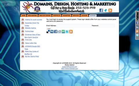 Screenshot of Support Page lccsweb.com - Support - Website Design and Hosting Morehead City, Beaufort, New Bern and Newport North Carolina Website Design, Hosting, Marketing and Social Networking. Reaching Hilton Head Island and Bluffton South Carolina.Website Design and Hosting Morehead Ci - captured Dec. 5, 2015