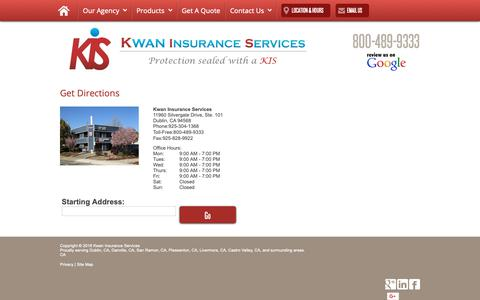 Screenshot of Maps & Directions Page kwaninsurance.com - Directions - captured Oct. 16, 2018