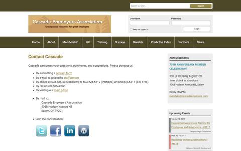 Screenshot of Contact Page cascadeemployers.com - Contact Cascade - captured July 17, 2017