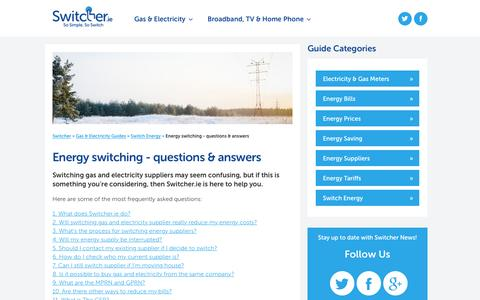 Screenshot of FAQ Page switcher.ie - Energy switching - questions & answers - captured Jan. 19, 2017