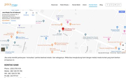 Screenshot of Contact Page javawisata.com - Contact Us - Paket Wisata Bandung - captured Sept. 20, 2018