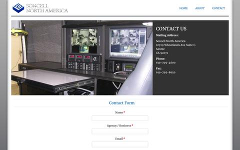 Screenshot of Contact Page soncellna.com - Contact - captured Feb. 15, 2016