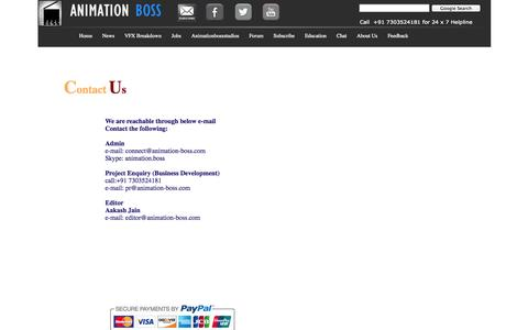 Screenshot of Contact Page animation-boss.com - Contact Us - captured Sept. 23, 2014