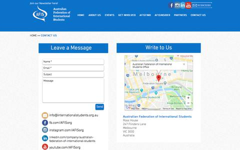 Screenshot of Contact Page afis.org.au - Contact Us | AFIS - captured Sept. 25, 2018