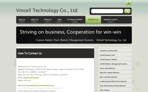 Screenshot of Contact Page vmcelltech.com - Vmcell Technology Co., Ltd , Custom Battery Pack /Battery Management Systems  Contact Us - captured Oct. 7, 2014