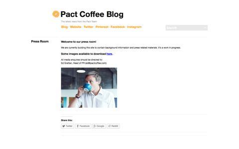 Screenshot of Press Page pactcoffee.com - Press Room | Pact Coffee Blog - captured Dec. 17, 2014