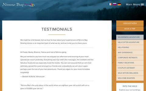 Screenshot of Testimonials Page nimmobay.com - Testimonials - Travel Accommodations All Inclusive Resort British Columbia, Canada - captured Oct. 18, 2018