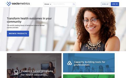 Screenshot of Home Page socio.com - Sociometrics - captured Nov. 4, 2017