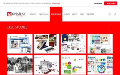 Screenshot of Case Studies Page precisionmarketinggroup.co.uk - Marketing services Case Studies - Precision Marketing Group - captured Sept. 29, 2018