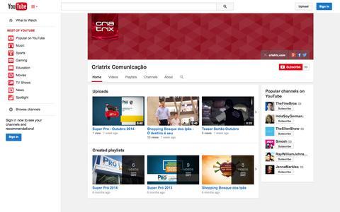 Screenshot of YouTube Page youtube.com - Criatrix Comunicação  - YouTube - captured Oct. 22, 2014