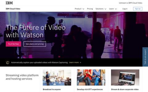 Screenshot of ibm.com - Streaming Video Platform & Hosting Services| IBM Cloud Video - captured April 13, 2018