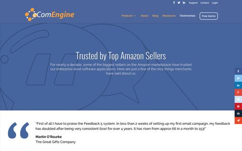 Screenshot of Testimonials Page ecomengine.com - Software for Amazon Merchants - eComEngine Testimonials - captured Sept. 9, 2016