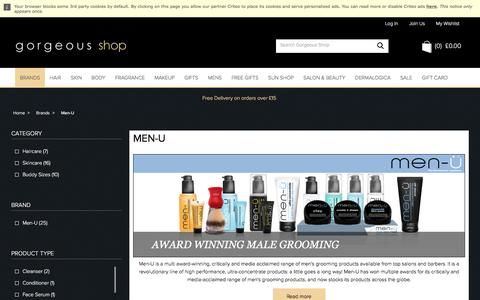 Screenshot of Menu Page gorgeousshop.com - Men-U | Male Grooming Products | Gorgeous Shop - captured Sept. 10, 2016