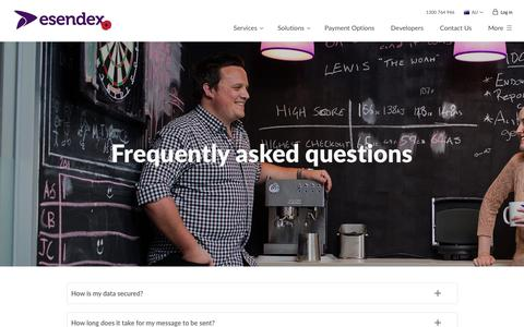 Screenshot of FAQ Page esendex.com.au - SMS FAQs | Esendex - captured Nov. 10, 2016